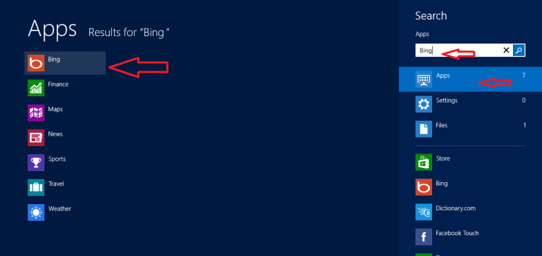 bing search in windows 8