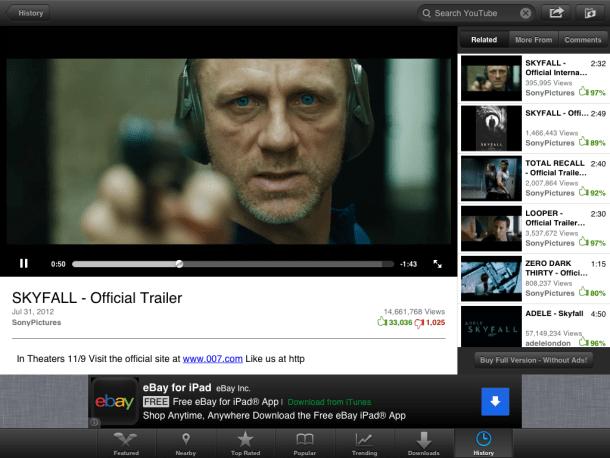 iPad Video Tube app playback video
