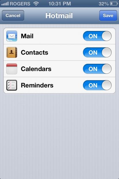 iPhone outlook settings finish