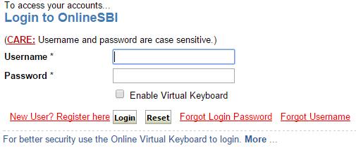 sbi login page