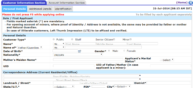 sbi online saving account form