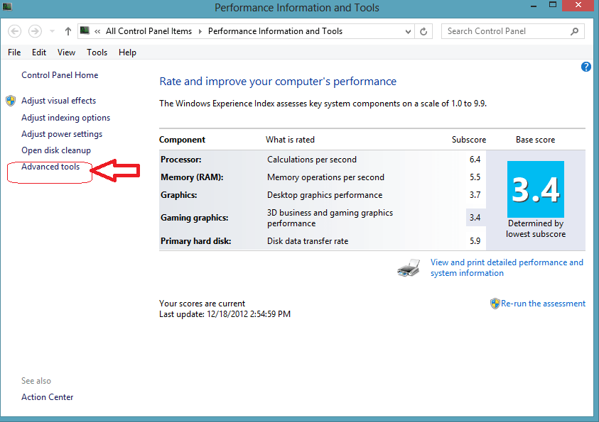 windows 8 advance tools option