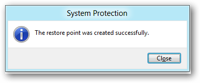 windows 8 created restore point
