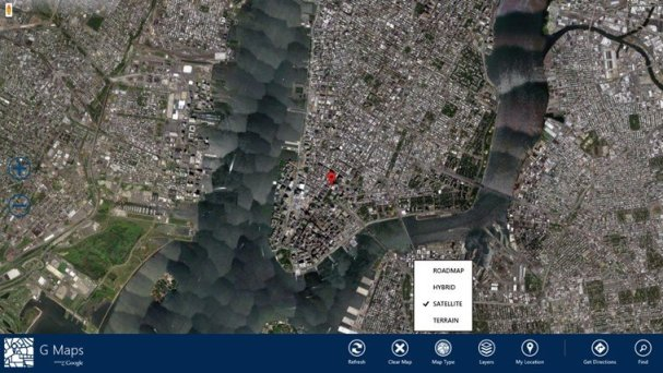 windows 8 GMaps app  satellite View  image