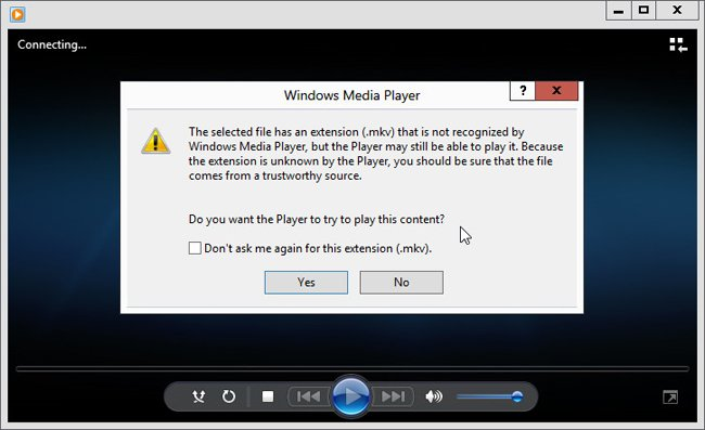 windows 8 Media Player error message