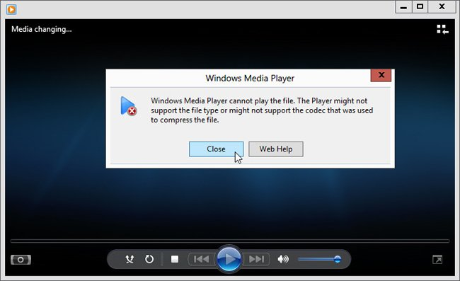 windows 8 media player close
