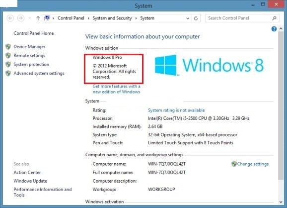 windows 8 properties check version
