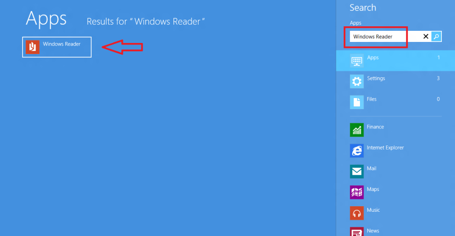 windows reader app search