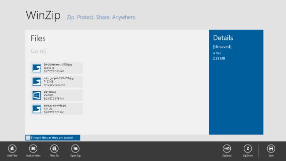 winzip app main screen in windows 8