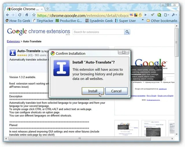 Auto Translate Text in Google Chrome