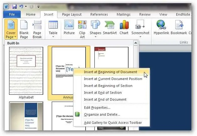 How to Create Custom Cover Pages in Microsoft Word 2010 - how to do a cover page