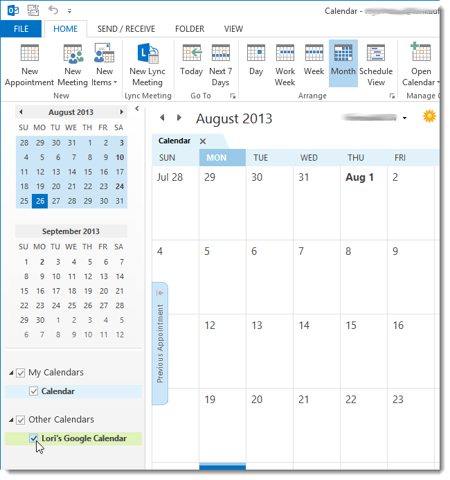Make Google Calendar Default In Outlook 2013 Outlook 2013 Calendar Contacts How To Mark All As How To View Your Google Calendars In Outlook 2013