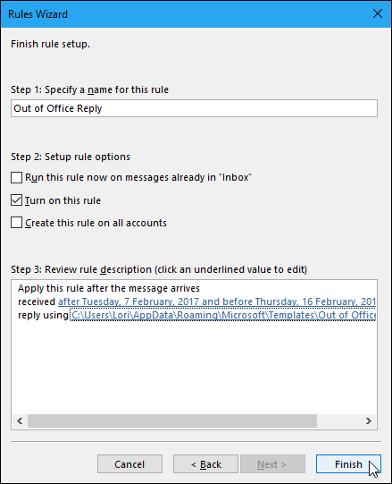 setting up a template in outlook