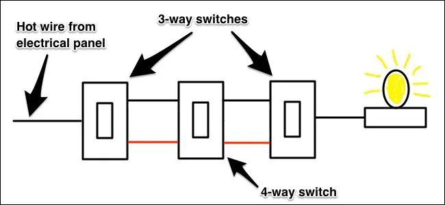 three way switch four lights