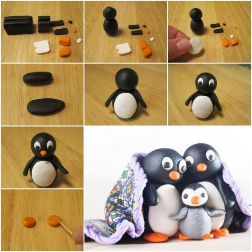 How To Make Cute Polymer Clay Penguin step by step DIY tutorial ...