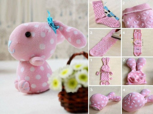 How to make cute sock bunny crafts step by step DIY tutorial