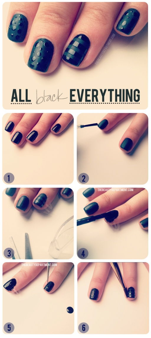 How To Make All Black Everything Nail Art Step By Step Diy