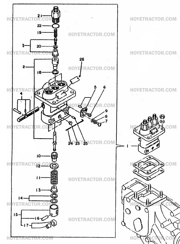 Ford 240 Engine Diagram Injector Pump Yanmar Tractor Parts