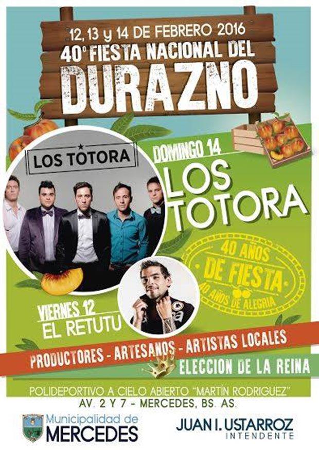 Los Totora cerrarán el domingo la Fiesta Nacional del Durazno
