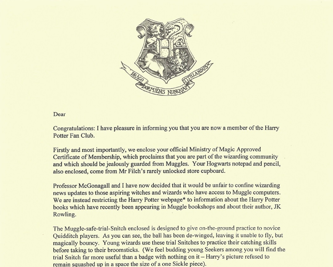 Fullsize Of Harry Potter Letter