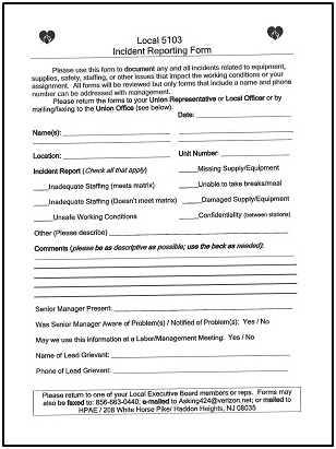 Local 5103 Incident Reporting Form - Health Professionals  Allied - Incident Reporting Form