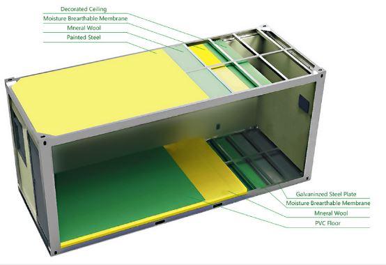 China Flatpack Modular Steel 40ft Kitchen Shipping
