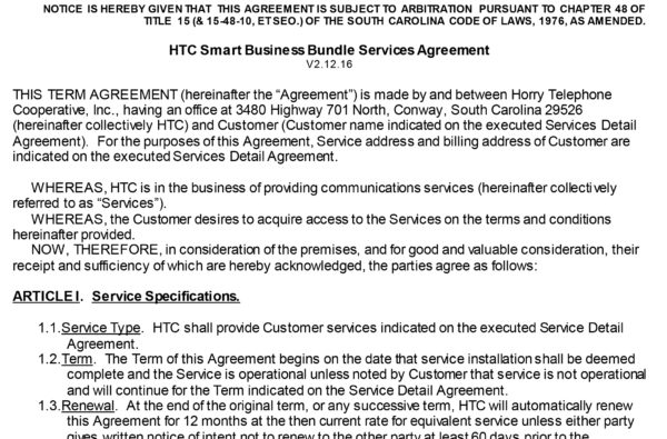 Business Service Agreements HTC Inc