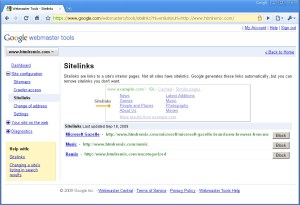 Adding Google sitelinks in Web master tools