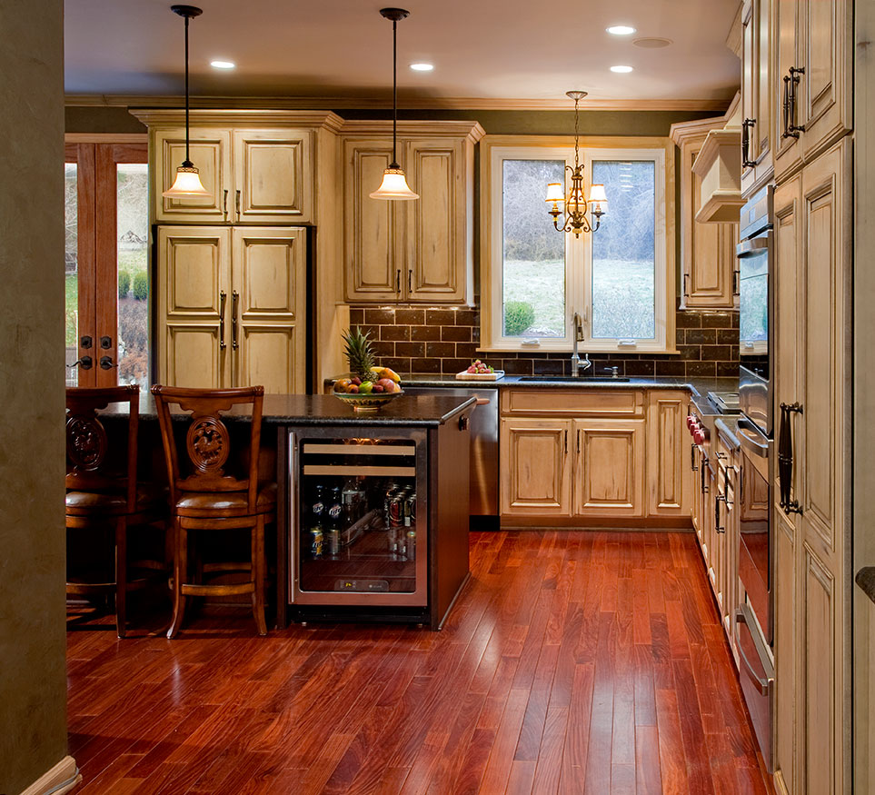 country kitchens kitchen remodeling york pa This country design in New Hope PA features a cherry island with a built in wine and beverage cooler
