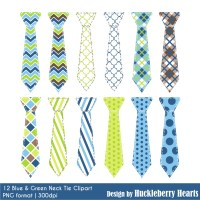 Blue and Green Neck Tie Clipart | Huckleberry Hearts