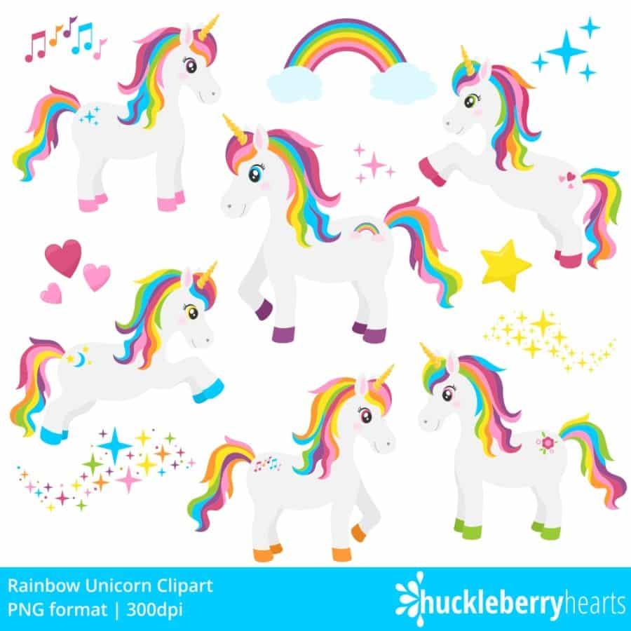 Kawaii Fall Wallpaper Rainbow Unicorn Clipart Huckleberry Hearts
