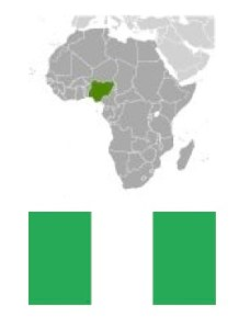 Map of Africa, Nigeria in green with Nigerian flag