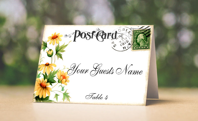 YELLOW DAISY POSTCARD TENT STYLE WEDDING PLACE CARDS or TABLE CARDS
