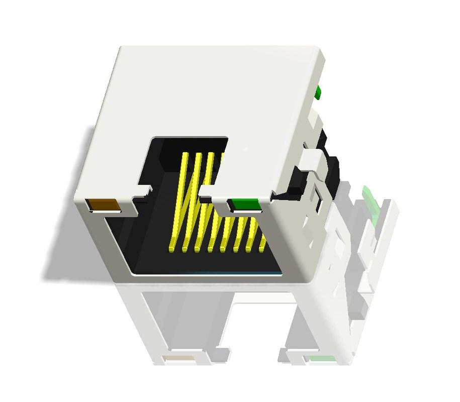 RJ45 Modular Jack,Shielded, THT,Reflow Soldering, LED,Miniature