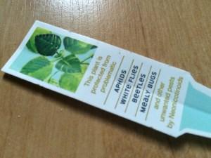 Image of neonicotinoids plant label