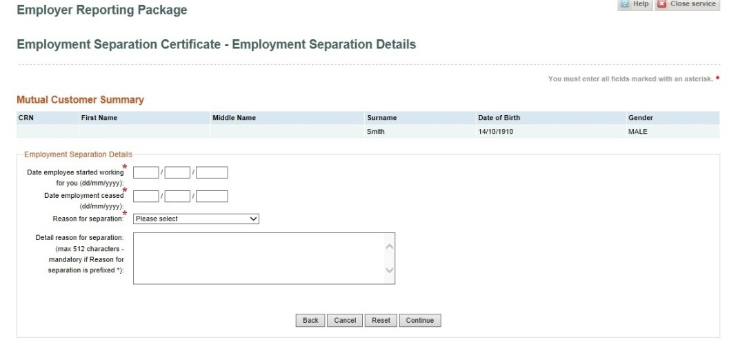 Submit an Employment Separation Certificate online - Australian