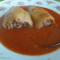 Stuffed peppers in tomato sauce