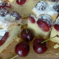 Hungarian Cherry Sponge Cake - Cseresznyés Lepény