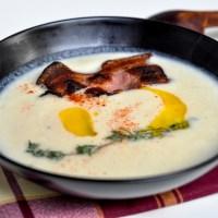 Крем супа от целина с мащерка и бекон