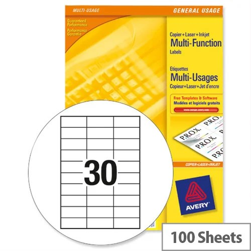 Avery White Copier Labels 30 per Sheet 70x30mm White 3489 3000