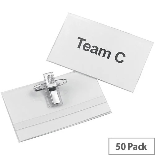 5 Star Office Name Badge Landscape with Combi-Clip 45x75mm Pack 50