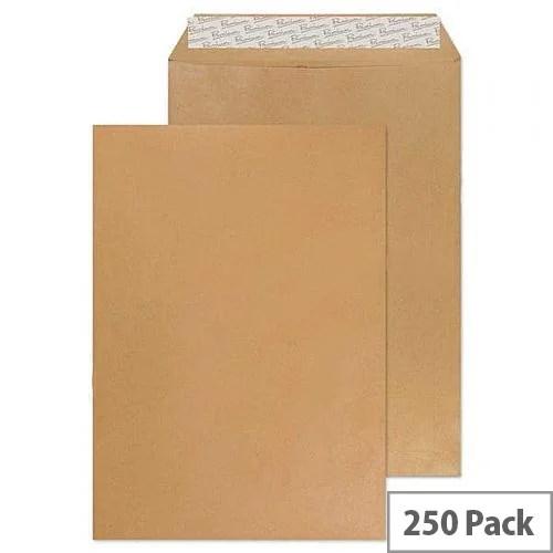 HuntOffice White Box C4 Envelope Manilla Pocket Press Seal Pack 250