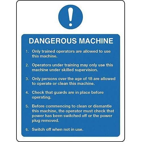 Rigid PVC Plastic Food Processing And Hygiene Sign Dangerous Machine