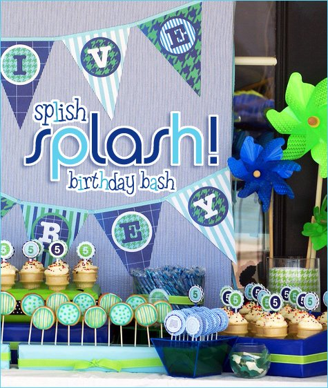 REAL PARTIES Blue  Green Pool Party   Hostess with the Mostess® - blue and green birthday party