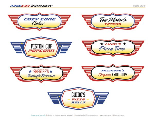 FREE Printables Disney Pixar Cars Birthday Party   Hostess with