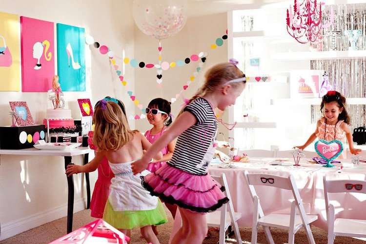 Colorful  Modern Barbie Birthday Party Ideas   Hostess with the - birthday party design