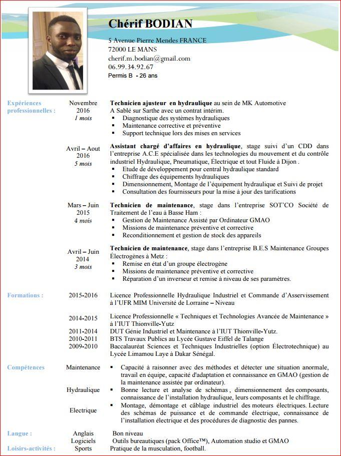 cv ingenieur hydraulique pdf