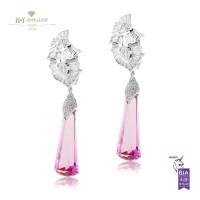White Gold Pink Topaz Earrings - 40.51 ct