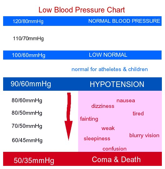 Low Blood Pressure Chart - For Women By Age For men During