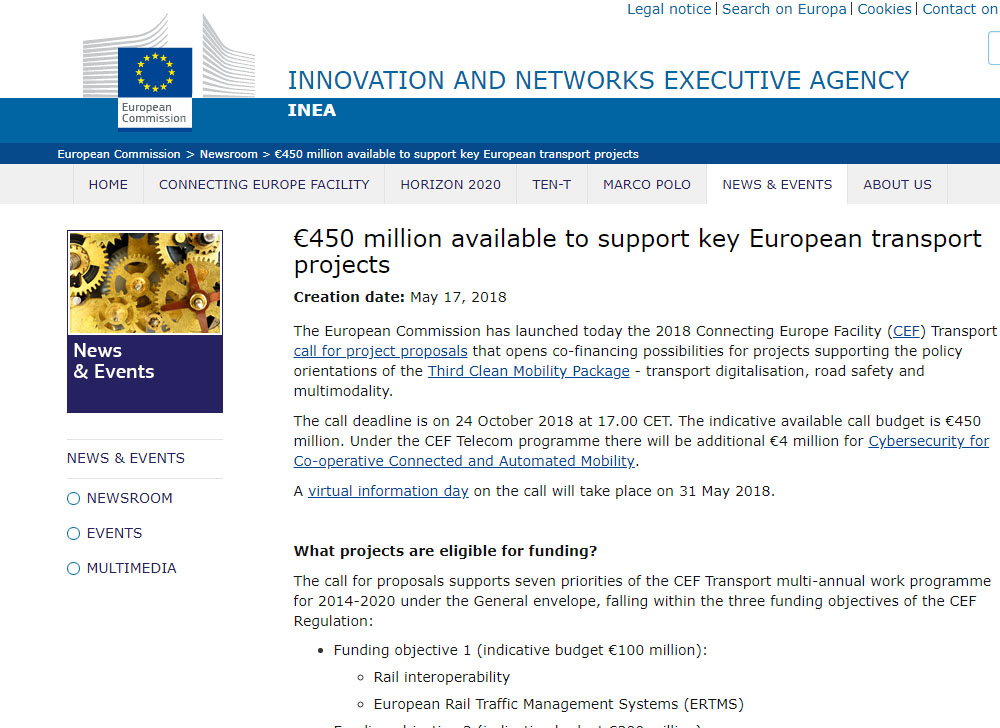 European Commission has launched a call for project proposals \u20ac450 - project proposals